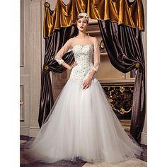 una línea princesa primicia barrer / cepillo tren vestido de novia de tul (466972) - USD $ 197.99