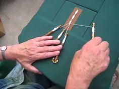 Jean Leader's demonstration of how to make leaf-shaped tallies in Bedfordshire bobbin lace.