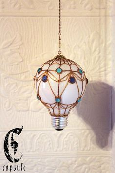 Decorative Ornament Stained Upcycled Glass Light Bulb French Hot Air Balloon with blue Beads Holiday Christmas