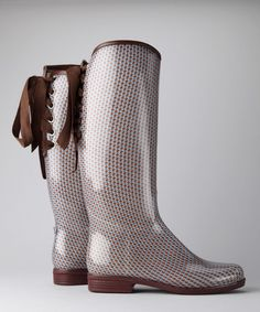 Take a look at this däv Brown Houndstooth Victoria Rain Boot by däv on #zulily today!
