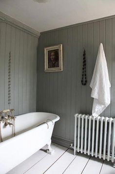 Modern Country bathroom, with tongue and groove paneling painted in Farrow and… Design Hotel, House Design, Bad Inspiration, Small Bathroom, Bathroom Grey, Bathroom Inspo, Rustic Bathrooms, Bathroom Vanities, Bathroom Designs