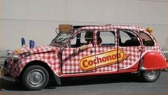 "A Well-Known ""Saucisson"" Brand (Dried Sausage) Advertising Vehicle On Citroen 2CV Extra-Long During Cycling Tour De France (1970's)"