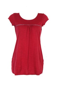 Solid Red Blouse; Round Neck; Short Sleeve; 30 Inches Long; Pleating Details; 100% Cotton #Clothing #Fashion #Style #Kurti #Wear #Colors #Apparel #Semiformal #Print #Casuals #W for #Woman