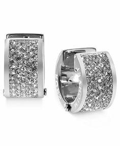 Michael Kors Earrings, Silver-Tone Crystal Pave Huggie Earrings