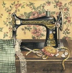 Vintage Rose Album: Maszyna do szycia Antique Sewing Machine - idea to do with my sewing machine that is collecting dust! Sewing Art, Sewing Rooms, Love Sewing, Sewing Crafts, Sewing Projects, Easy Projects, Shabby Vintage, Vintage Paper, Vintage Art