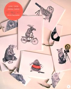 Le Canot Rouge animal cards and tags