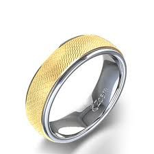This Unique Men S Wedding Ring In 14 Karat Yellow Gold Features A One Of Kind White Center Design Subtle Beveled Edge And Diamond Cut Finish