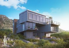 The Kaplan container house This is one of the best projects I've done, the client wanted to see the exterior renders but especially adapt the house to the land. Sea Container Homes, Building A Container Home, Container House Design, Shipping Container Buildings, Shipping Container Home Designs, Shipping Containers, Rendered Houses, Container Architecture, Modern Architecture