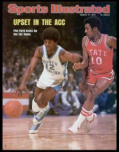 Phil Ford and the Tar Heels upset the defending NCAA Champions N. State to win the 1975 ACC tournament. Phil Ford was named the Most Valuable Player of the tournament. Carolina Pride, North Carolina, Carolina Blue, Sports Magazine Covers, Si Cover, Cover Art, Sports Illustrated Covers, Unc Tarheels, Basketball Pictures