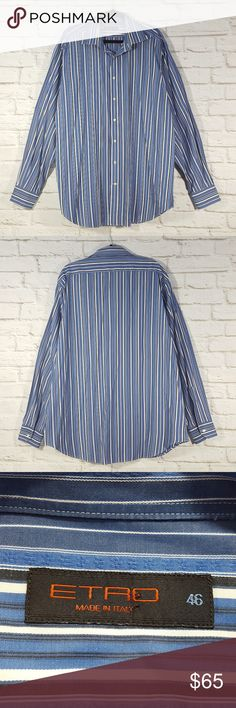 Etro Button Down Striped Shirt Size 46 Etro Italy Men's Button Down Shirt Striped Size 46 Please see measurements that are in the photo gallery to ensure proper fit. Thank you for looking at my closet!  Happy poshing!! Etro Shirts Casual Button Down Shirts