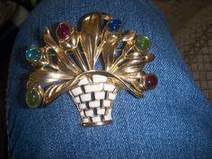 Gorgeous basket of flowers Colorful Rhinestone Brooch Vintage Pin #Unbranded