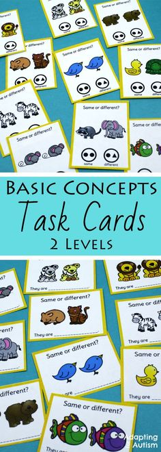 "These task cards are perfect to practice basic concepts in special education classrooms or speech therapy. These ""any time"" activities are also great independent work tasks in autism classrooms!"