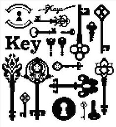 Antique Keys Blackwork Sampler Collage Easy Cross Stitch Pattern | eBay