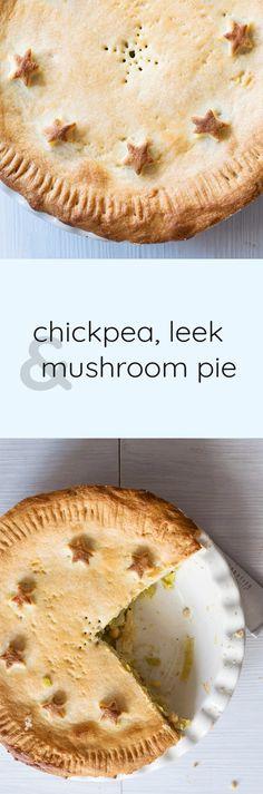 Vegan chickpea, leek and mushroom pie