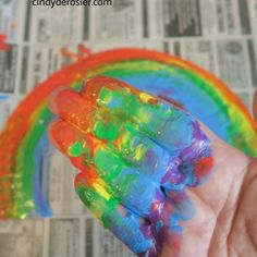 'Hand-Painted' Paper Plate Rainbow