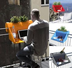Referente: Solución de mobiliario para espacios reducidos, en este caso terraza o balcón de departamento.  Mesa masetero, ocupación de un espacio que no es vital pero si muy necesario.