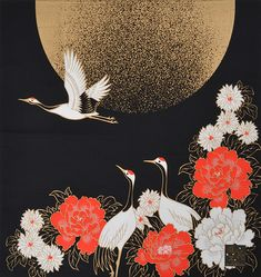 "Crane birds and a golden moon Japanese cotton furoshiki. ""Furoshiki"" is a square wrapping cloth. In Japan, it is popularly used as a reusable bag, a gift wrapping or maybe to hang on the wall like a tapestry. Asian Art, Crane Drawing, Japanese Patterns, Art Inspo, Drawings, Peacock Wall Art, Arts And Crafts Supplies, Painting, Art"
