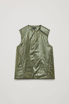 Front image of Cos padded sleeveless vest in green Men's Coats And Jackets, Contemporary Fashion, Fashion Brand, Cos, Menswear, Man Shop, Model, How To Wear, Collection