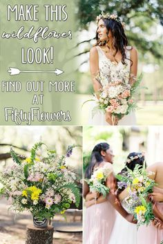 Spring pastels work perfectly in this Wildflower Wedding! See how you can Make This Look at FiftyFlowers.com.