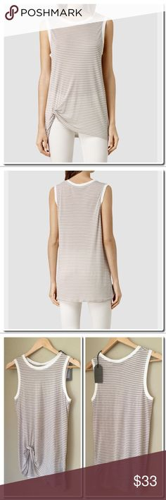 CCO All Saints Mellon Bar Tank in Cloud Dove All Saints Mellon Bar Tank in Cloud / Dove Stripe - twist Front detail - contrasting trim around arms and neck . Pair it with All Saints Rail Side Zip Skinny Jeans , listed separately. 100 % Viscose - Handwash All Saints Tops Tank Tops