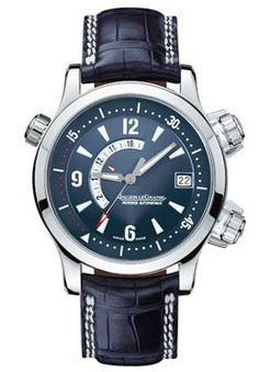 Jaeger Le-Coultre Master Compressor Memovox Watches. 41.5mm Platinum case, blue dial, automatic calibre 918 movement, alligator leather strap with deployant buckle. Water resistant to 100 meters.