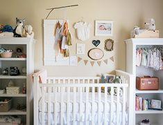 nursery inspiration // blush + gold + white // crib, bookshelves, wall collage, tassel mobile