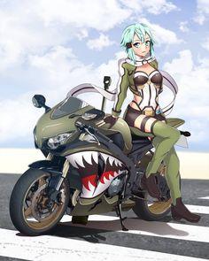 Anime Couples Manga, Cute Anime Couples, Anime Manga, Anime Girls, Online Anime, Online Art, Anime Motorcycle, Sinon Ggo, Sao Characters