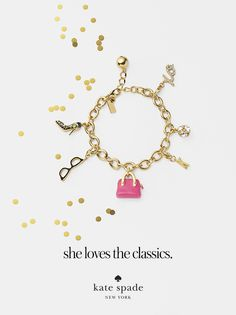 featuring the pave xo charm, lady marmalade charm, maise charm, gores glasses charm, and shoe charm. #getgifted