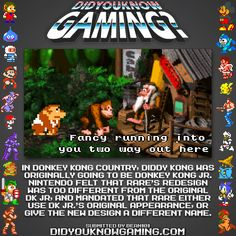 did you know gaming? Donkey Kong Country. http://www.vgfacts.com/trivia/1154/