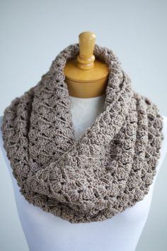 Crocheted infinity scarf hood in Taupe Heather