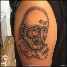 Lilly's Fine Tattoos | Gallery Hindu Tattoos, God Tattoos, Shiva Tattoo, Tattoo Designs Wrist, Colour Tattoo, Tattoos Gallery, Sai Baba, Shoulder Tattoo, Scrambler