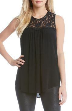 Karen Kane Sleeveless Lace & Crepe Top available at #Nordstrom