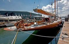 No words can describe this wooden beauty . Classic Sailing, Classic Yachts, Sailboat Yacht, Yacht Boat, Wooden Sailboat, Wooden Boats, J Class Yacht, Sail Racing, Wooden Boat Building