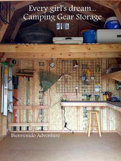 Camping Gear Storage - DIY shelves Bienvenido Adventure