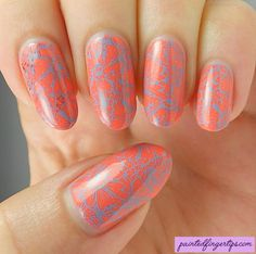 Painted Fingertips | Supermoon I Warned You with blue floral stamping