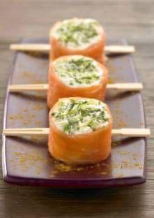Sushi de saumon fumé à la bûche de chèvre et pomme granny