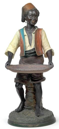 CALLING CARD RECEIVER, Bernard Bloch, Eichwald, circa1900, figural Moorish youth holding tray, painted ceramic, marked and numbered on back, H: 80.5 cm