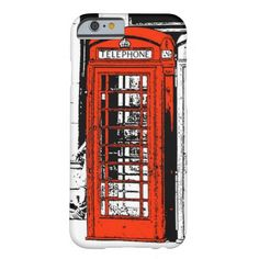 Cool Illustration Red London Phone Box Barely There iPhone 6 Case. #phonecases #iphonecases #iphone6cases #phonebox #london