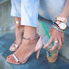 Zara Heels + Rose Gold Watch via song of style Zara Sandals, Zara Heels, Ankle Strap Sandals, Heeled Sandals, Sexy Sandals, Song Of Style, My Style, Stuffed Animals, Open Toe