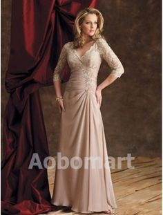 V-Neck Floor Length Lace Ruffle Chiffon Three Quarter Sleeves Mother Of The Bride  Gowns Dresses 29976 7e567dfbecaa