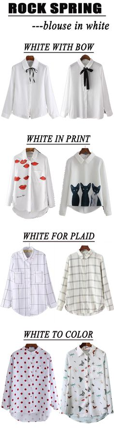 Loose white down blouse for spring. Blouse in white with black bow for school outlook. Cute print high low white blouse for street walk. Classic casual plaid blouse and pretty colored print boho blouse. Pear a casual white blouse with any pieces to rock t http://bellanblue.com