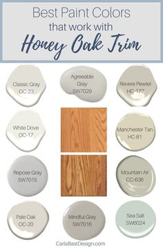 Honey Oak Cabinets, Oak Kitchen Cabinets, Kitchen Paint, Updating Oak Cabinets, Best Paint Colors, Interior Paint Colors, Paint Colors For Home, Paint Colours, Interior Design