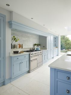 This custom-made Martin Moore blue kitchen was designed and handmade to order in the … – Cheap Kitchen Cabinets Tips Cheap Kitchen Cabinets, Farmhouse Kitchen Cabinets, Kitchen Cabinet Design, Kitchen Cabinetry, Kitchen Layout, Kitchen Flooring, Rustic Kitchen, Country Kitchen, Kitchen Island