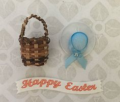 Happy easter #banner, blue bonnet hat & mini 2.5cm #round bamboo #basket craft se,  View more on the LINK: http://www.zeppy.io/product/gb/2/272464143483/