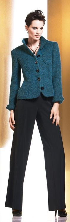 You're the boss in these black trousers & blue mohair jacket.