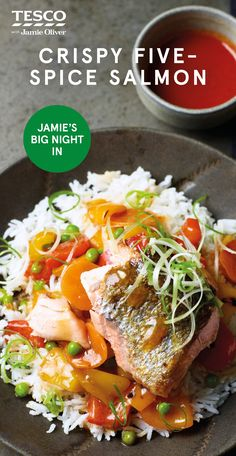 """Crispy five-spice salmon, Food And Drinks, Jamie Oliver says, """"Cooking one big piece of salmon gives you incredible flaky fish with gorgeous crispy skin. I& used teriyaki sauce, which con. Prawn Recipes, Healthy Salmon Recipes, Veggie Recipes, Seafood Recipes, Cooking Recipes, Recipes Dinner, Dinner Ideas, Cellulite, Tesco Real Food"""