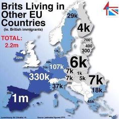 Brits living in other EU countries — relevant to the Brexit referendum this year. Eu Countries, European Countries, Historical Maps, Cartography, Great Britain, Fun Facts, Finance, Knowledge, Country