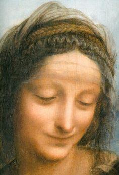 Virgin and Child with St Anne (detail, St Anne), by Leonardo da Vinci Michelangelo, Madonna, St Anne, Renaissance Artists, Italian Renaissance, Trois Crayons, Monochrome Painting, Art Du Monde, Hieronymus Bosch