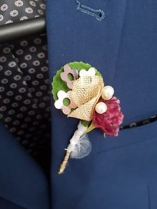 £5.99 buy it now.more than 12 available. Maroon madness with beads and hessian buttonhole. Handmade by Gianna Creations.