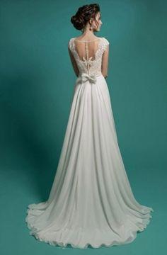 Melina - Bellìsimo vestido de novia para boda civil o en la playa con falda en chiffon, precio barato en internet